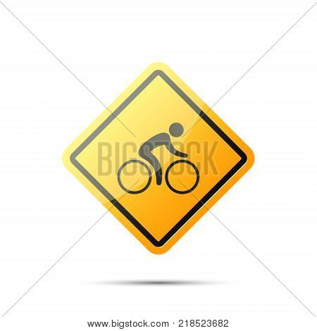 Warning traffic sign bicycle. Bicycle yellow road sign. Rules of the road traffic symbol.