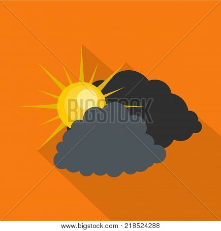 Dark cloudy sun icon. Flat illustration of dark cloudy sun vector icon for web