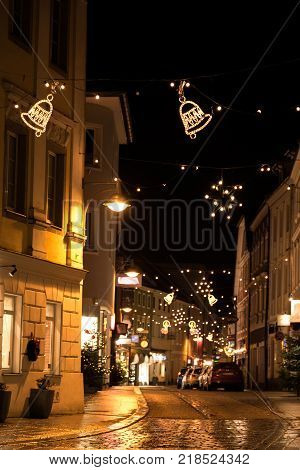 Christmassy shopping street at night - romantic and peaceful