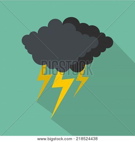 Cloud thunder flash icon. Flat illustration of cloud thunder flash vector icon for web poster