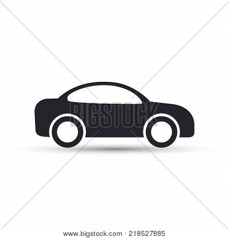 Car icon vector. Side view. Simple black car sign with shadow.