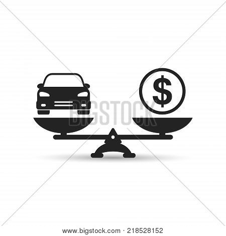 Car and money on scales icon vector. Scales with car and dollar coin in flat style. Car price concept.