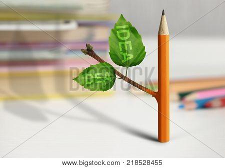 fresh idea creative concept pencil with leaves