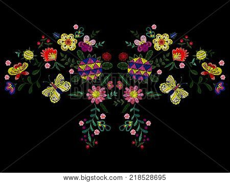 Embroidery ethnic neckline pattern with wild fantasy flowers and butterfly. Vector embroidered floral design for fashion wearing.
