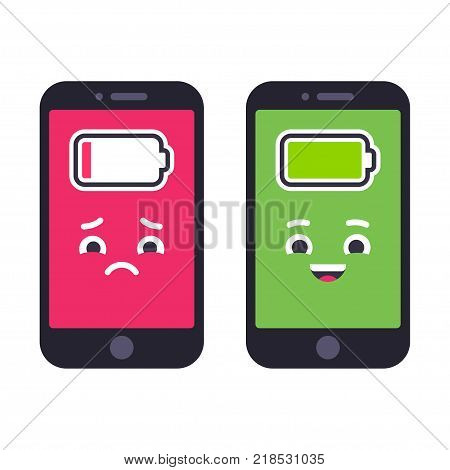 Two smartphones with cute cartoon faces. Sad phone with low battery and happy fully charged. Funny vector illustration.