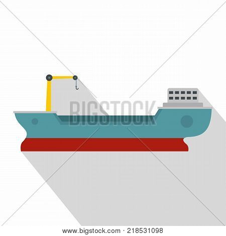Ship freight icon. Flat illustration of ship freight vector icon for web