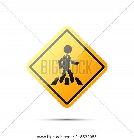 Road yellow sign with pedestrian on crosswalk vector simple rhombus symbol. Pedestrian crossing icon.