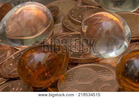 Cents of euro or copper coins. Pattern from euro cents. Money.