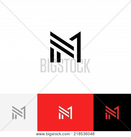 M 1 vector logo. Logotype, icon, symbol, sign from letters m and one. Flat logotype design with red color for company or brand.