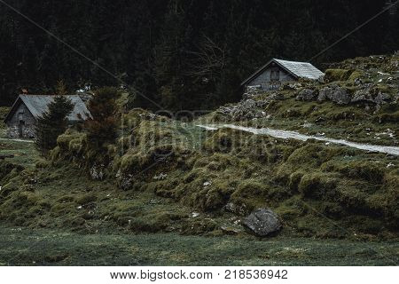 pantry houses in hilly landscape in Switzerland