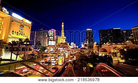 LAS VEGAS - OCT 11 : View of the strip in Las Vegas on Oct 11 2017. The Las Vegas Strip is an approximately 4.2-mile (6.8 km) stretch of Las Vegas Boulevard in Clark County Nevada.