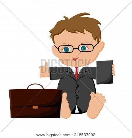 Cute sitting baby boy businessman with suitcase holding tablet and showing thumb up. Children dream job, future profession. Cartoon vector illustration in flat style isolated on white background.