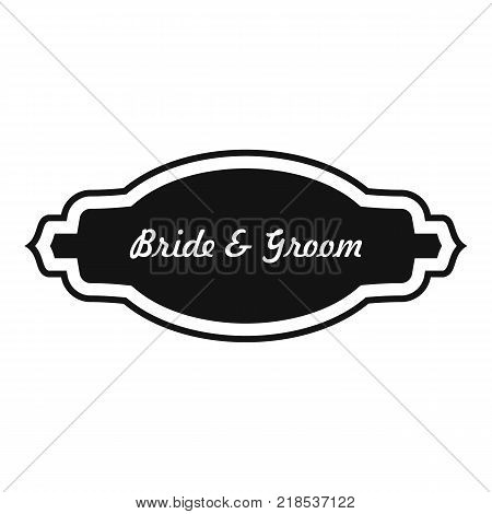 Bride and groom label icon. Simple illustration of bride and groom label vector icon for web