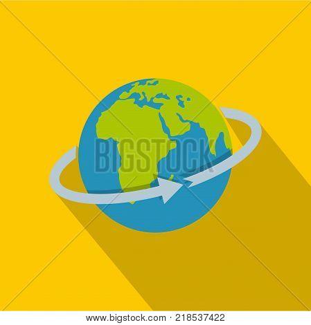 Flight around world icon. Flat illustration of flight around world vector icon for web
