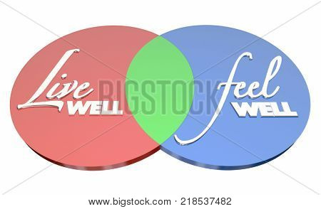 Live Well Feel Well Healthy Lifestyle Venn Diagram 3d Illustration