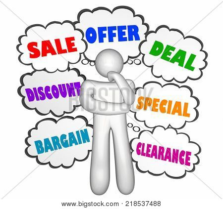 Sale Discount Deal Thinker Thought Clouds Buying Options 3d Illustration