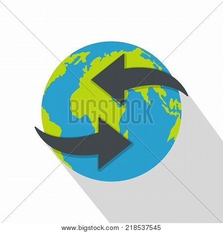 Moving earth icon. Flat illustration of moving earth vector icon for web