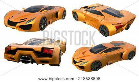 Set conceptual orange racing cars. 3d illustration