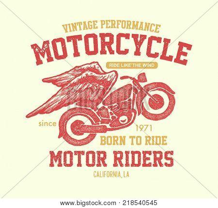 Hand drawn vintage motorcycle. Jpeg version.