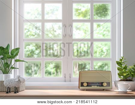 Wood shelf located by the window 3d rendering image. Decorated with vintage radio. There are white wood windows looking out to see the nature