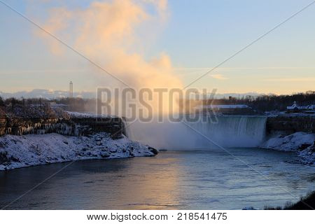 Niagara Falls At Canada Side At Winter