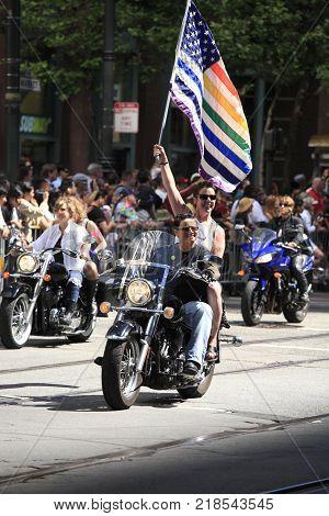 San Francisco City, USA - Jun 28, 2010: Gays and lesbians marching in the SF Pride Parade San Francisco City, USA, on Jun 28, 2010.