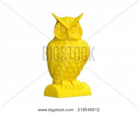 Abstract object of printed by 3d printer on white background. Fused deposition modeling, FDM. Progressive additive technology. Concept of 4.0 industrial revolution. Isolated on white background.