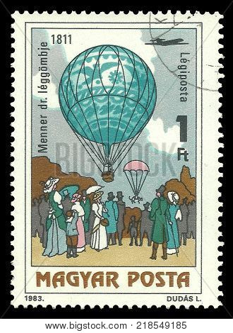 Hungary - stamp printed 1983 Multicolor Air Mail edition photogravure printing Topic Means of transport Balloons Series 200 Years of Manned Flight Dr. Menner's air balloon 1811