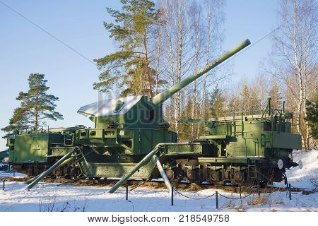 KRASNOFLOTSK, RUSSIA - FEBRUARY 08, 2017: 180-mm artillery mount TM-1-180 in combat position close-up on a February sunny day. Fort Krasnaya Gorka (Alekseevsky)