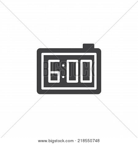 Digital alarm clock icon vector, filled flat sign, solid pictogram isolated on white. Electronic watch with 6 pm reminder symbol, logo illustration.
