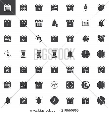 Time and date vector icons set, modern solid symbol collection, filled style pictogram pack. Signs, logo illustration. Set includes icons as calendar, hourglass, clock, watch, agenda, binder, bell