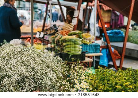 A small business for selling flowers. The seller does the work in the background. Street shop. There are different kinds of flowers on the counter