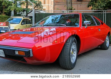 Spilamberto Italy- October 02 2016: Exhibition of cars from Ferrari Museum on streets of Spilamberto