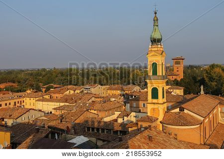 Historic center of Spilamberto Italy. Top view from fortress