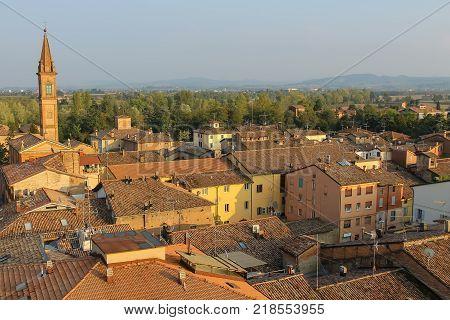 Historic center of Spilamberto Italy.