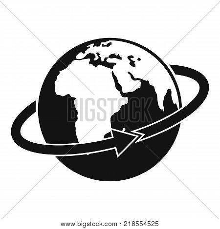 Flight around earth icon. Simple illustration of flight around earth vector icon for web