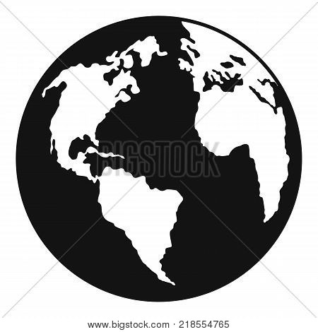 Continent on planet icon. Simple illustration of continent on planet vector icon for web