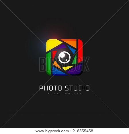Square colored photo studio logo template design. Vector illustration.