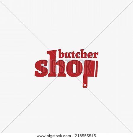 Simple butcher shop logo template design. Vector illustration.