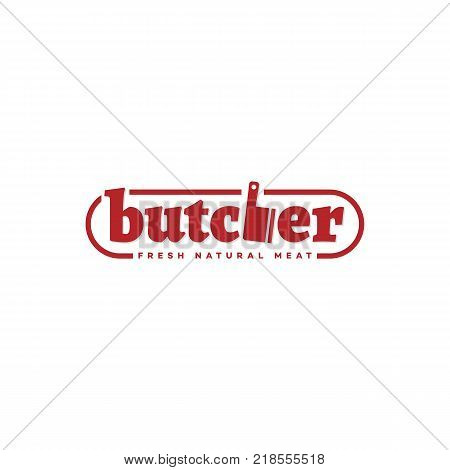 Butcher logo, label template design. Vector illustration.
