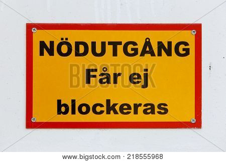 Sign in Swedish Emergency exit must not be blocked