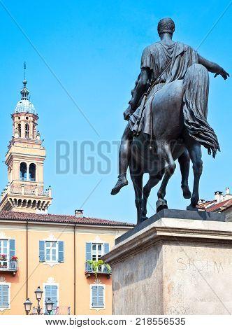 Italy Piedmont Casale Monferrato Piazza Mazzini and the equestrian statue dedited to Carlo Alberto