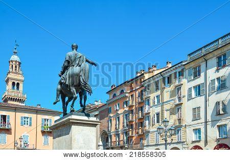 Casale Monferrato Italy - May 13 2011: Piazza Mazzini and the equestrian statue dedicated to Carlo Alberto