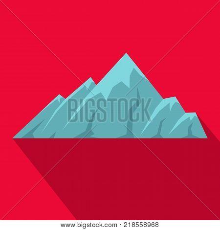 Alpine mountain icon. Flat illustration of alpine mountain vector icon for web