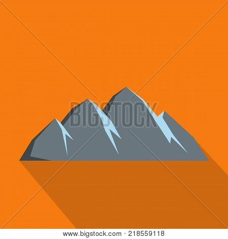 Large mountain icon. Flat illustration of large mountain vector icon for web