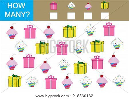 Counting game for children. Count how many cupcake with gift and write the result.