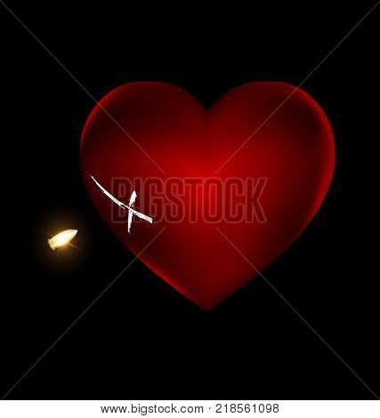 black background and the large red wounded heart-stone with traces of shots and bullets