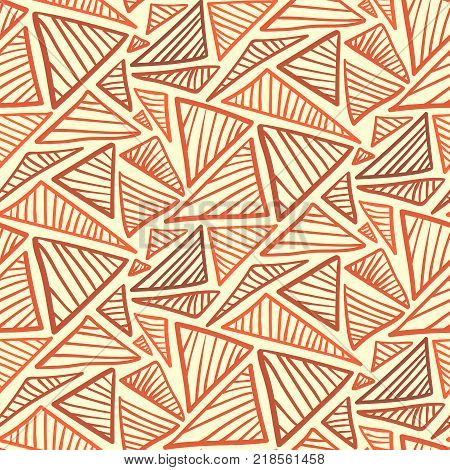 Doodle seamless pattern with warm terra cotta scribble triangles. Abstract fashion orange trendy vector texture with hand drawn shapes for textile wrapping paper surface background wallpaper