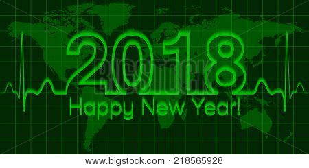 Christmas green world map banner, 2018 happy new year, vector 2018 the crisis, the wave matrix of cardiology, the concept of success and prosperity, 3D effect with shadow