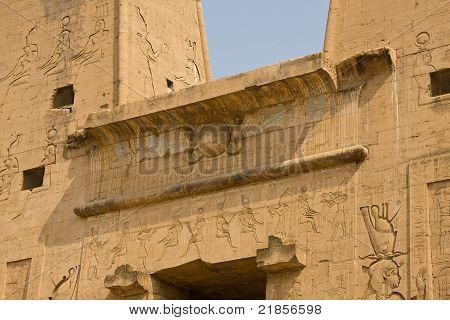 Ancient Egypt emblem in Edfu temple
